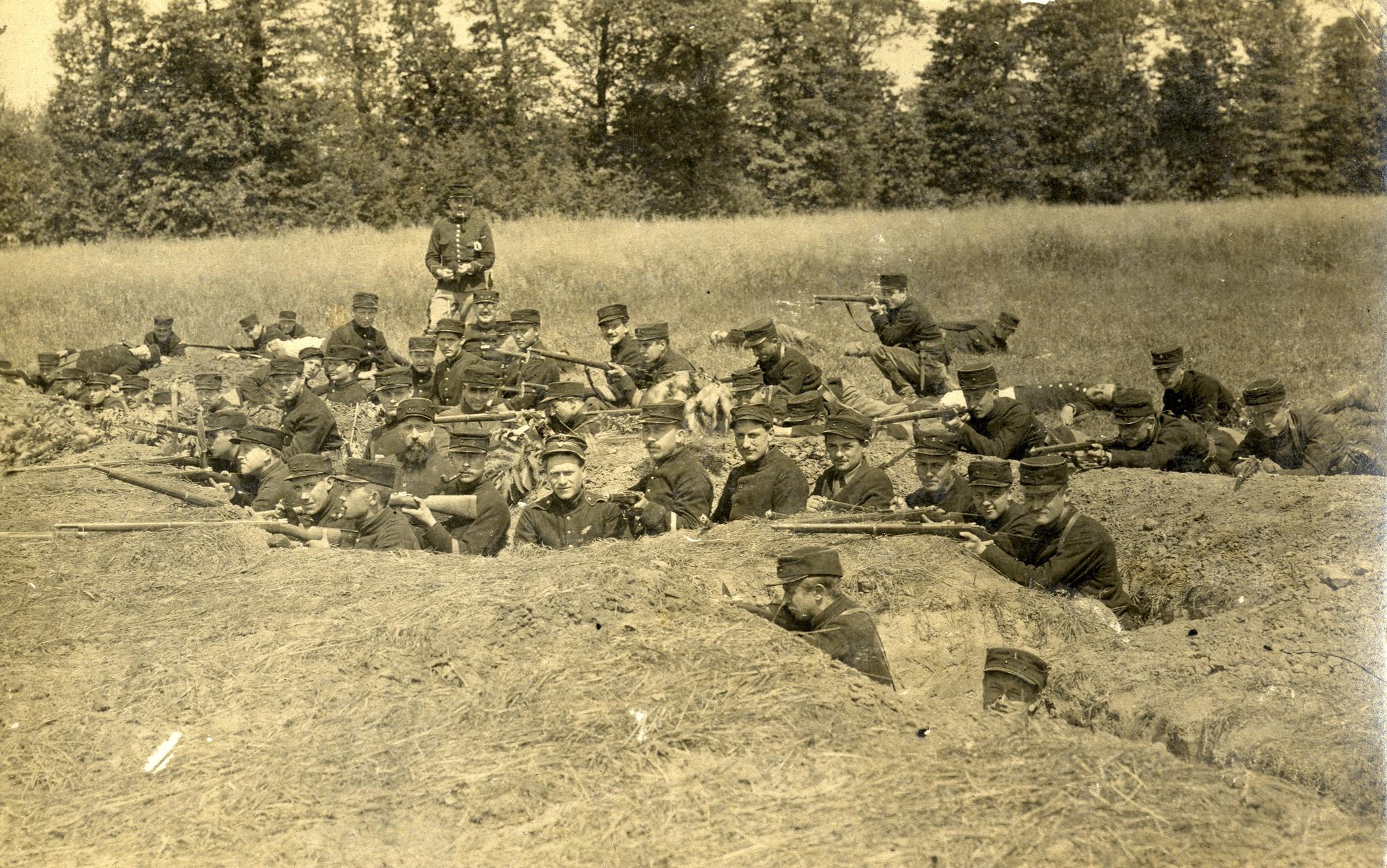 Belgische militairen in opleiding, 1915-1916
